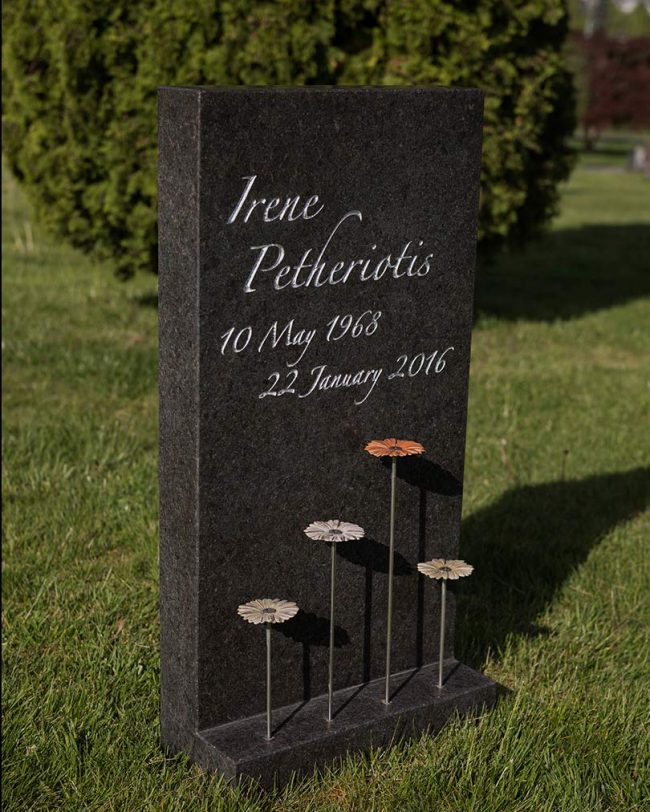 Black granite memorial with bronze florals, Mountain View Cemetery, Vancouver, British Columbia