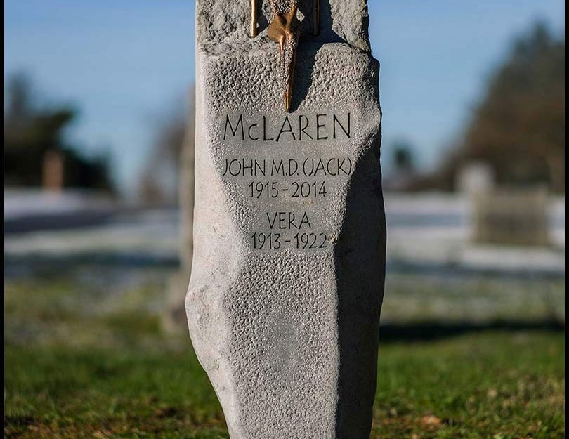 British Columbia basalt memorial with bronze sculpture, Mountain View Cemetery, Vancouver