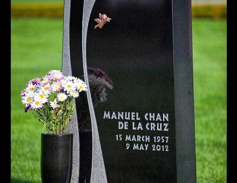 Contemporary black granite monument, Ocean View Cemetery, Burnaby, British Columbia