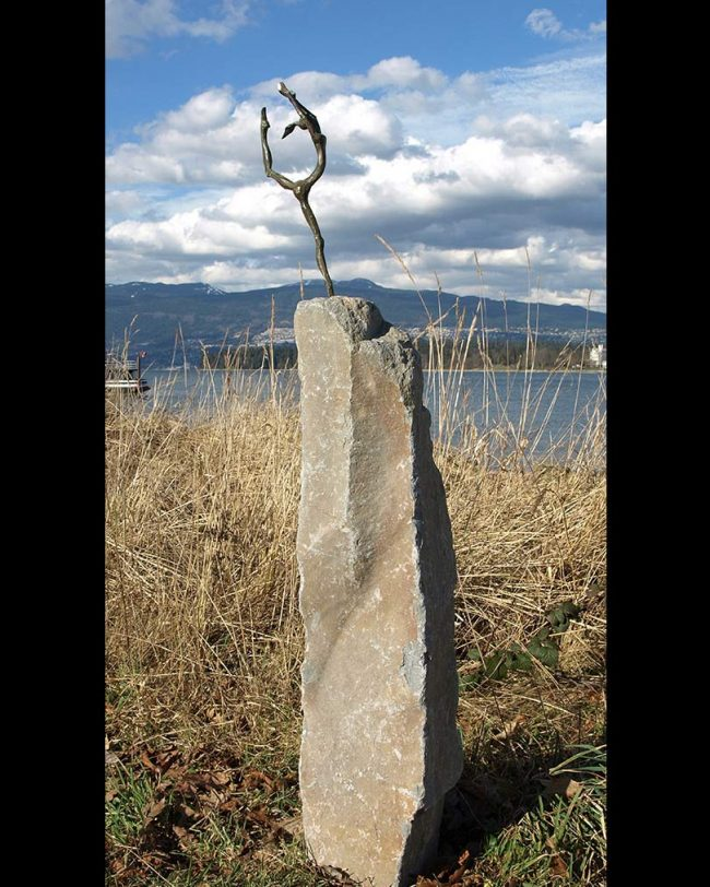 British Columbia basalt monument, bronze woman sculpture, Victoria