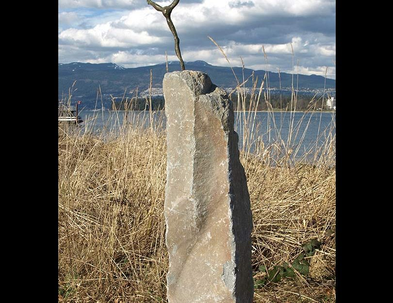 British Columbia basalt monument, bronze woman sculpture, Victoria