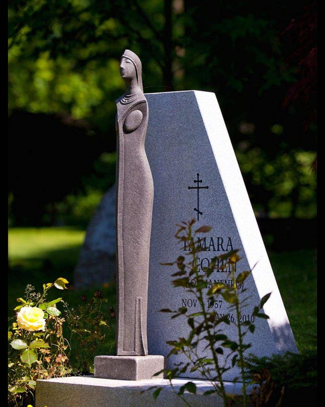 Barre grey granite memorial with stone sculpture, Coquitlam cemetery, British Columbia