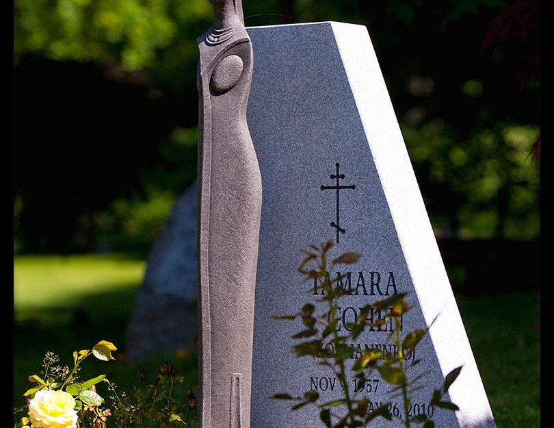 Barre grey granite memorial with stone sculpture, Coquitlam cemetery, British Columbia
