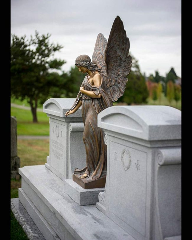 Bronze angel details, Mountain View Cemetery, Vancouver, British Columbia