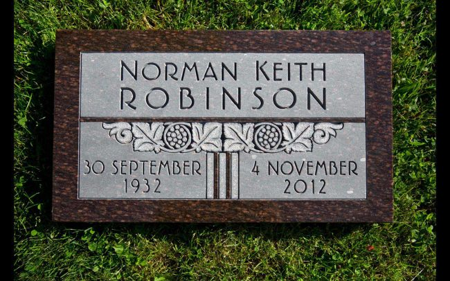 Flat grass memorial, traditional design and engraving, Vancouver, British Columbia